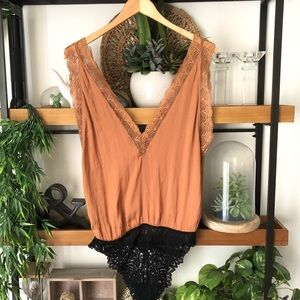 Free People brown silky lace bodysuit